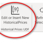 Shows the Edit or Insert New HistoricalPrices button