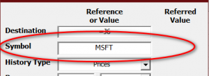Setting the symbol for the Historical Prices data
